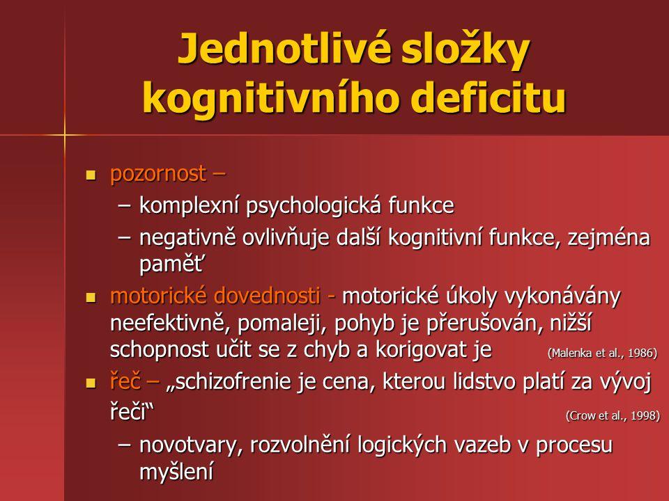 """Jednotlivé složky kognitivního deficitu pozornost – pozornost – –komplexní psychologická funkce –negativně ovlivňuje další kognitivní funkce, zejména paměť motorické dovednosti - motorické úkoly vykonávány neefektivně, pomaleji, pohyb je přerušován, nižší schopnost učit se z chyb a korigovat je (Malenka et al., 1986) motorické dovednosti - motorické úkoly vykonávány neefektivně, pomaleji, pohyb je přerušován, nižší schopnost učit se z chyb a korigovat je (Malenka et al., 1986) řeč – """"schizofrenie je cena, kterou lidstvo platí za vývoj řeči (Crow et al., 1998) řeč – """"schizofrenie je cena, kterou lidstvo platí za vývoj řeči (Crow et al., 1998) –novotvary, rozvolnění logických vazeb v procesu myšlení"""