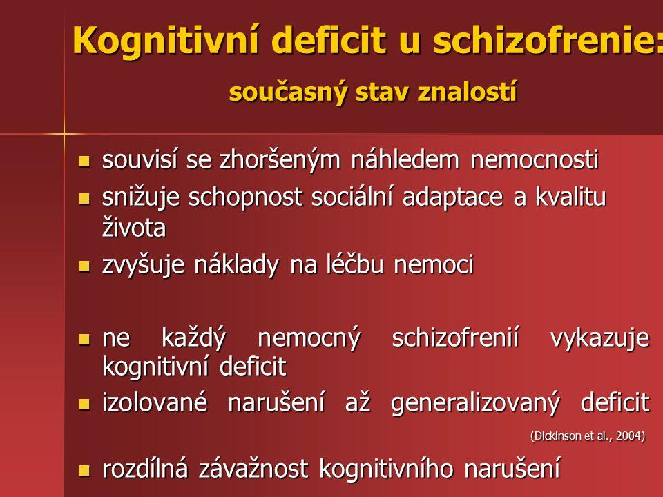 souvisí se zhoršeným náhledem nemocnosti souvisí se zhoršeným náhledem nemocnosti snižuje schopnost sociální adaptace a kvalitu života snižuje schopnost sociální adaptace a kvalitu života zvyšuje náklady na léčbu nemoci zvyšuje náklady na léčbu nemoci ne každý nemocný schizofrenií vykazuje kognitivní deficit ne každý nemocný schizofrenií vykazuje kognitivní deficit izolované narušení až generalizovaný deficit (Dickinson et al., 2004) izolované narušení až generalizovaný deficit (Dickinson et al., 2004) rozdílná závažnost kognitivního narušení rozdílná závažnost kognitivního narušení Kognitivní deficit u schizofrenie: současný stav znalostí
