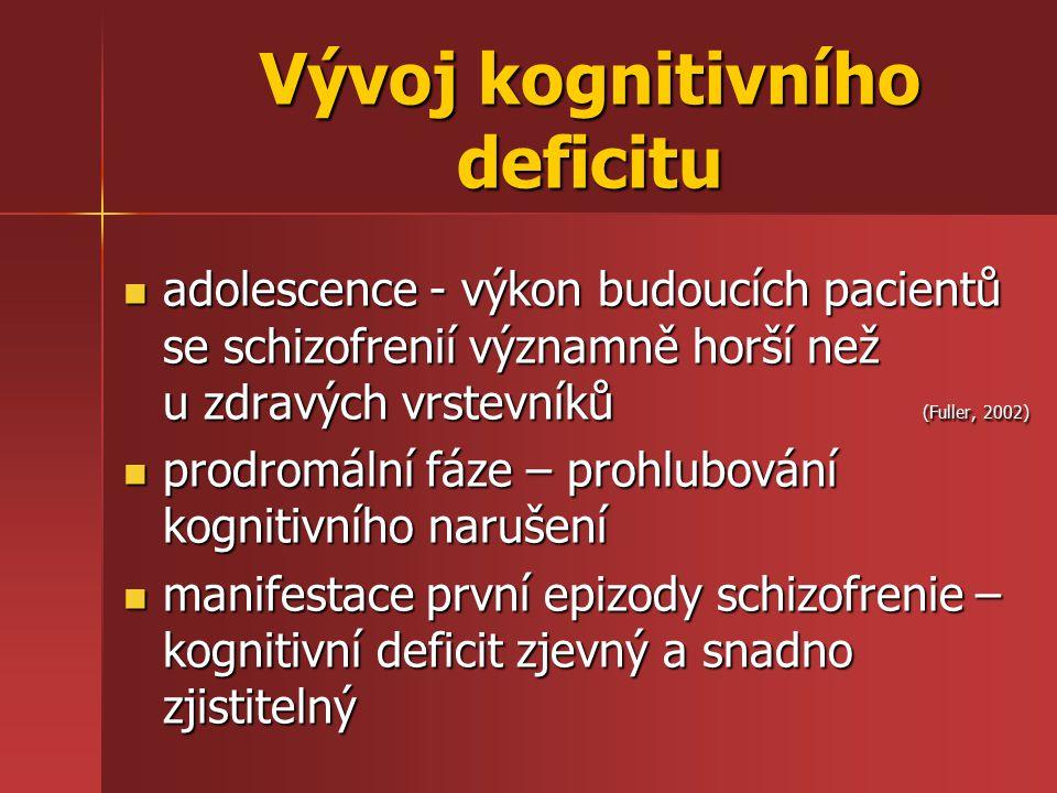 Vývoj kognitivního deficitu adolescence - výkon budoucích pacientů se schizofrenií významně horší než u zdravých vrstevníků (Fuller, 2002) adolescence