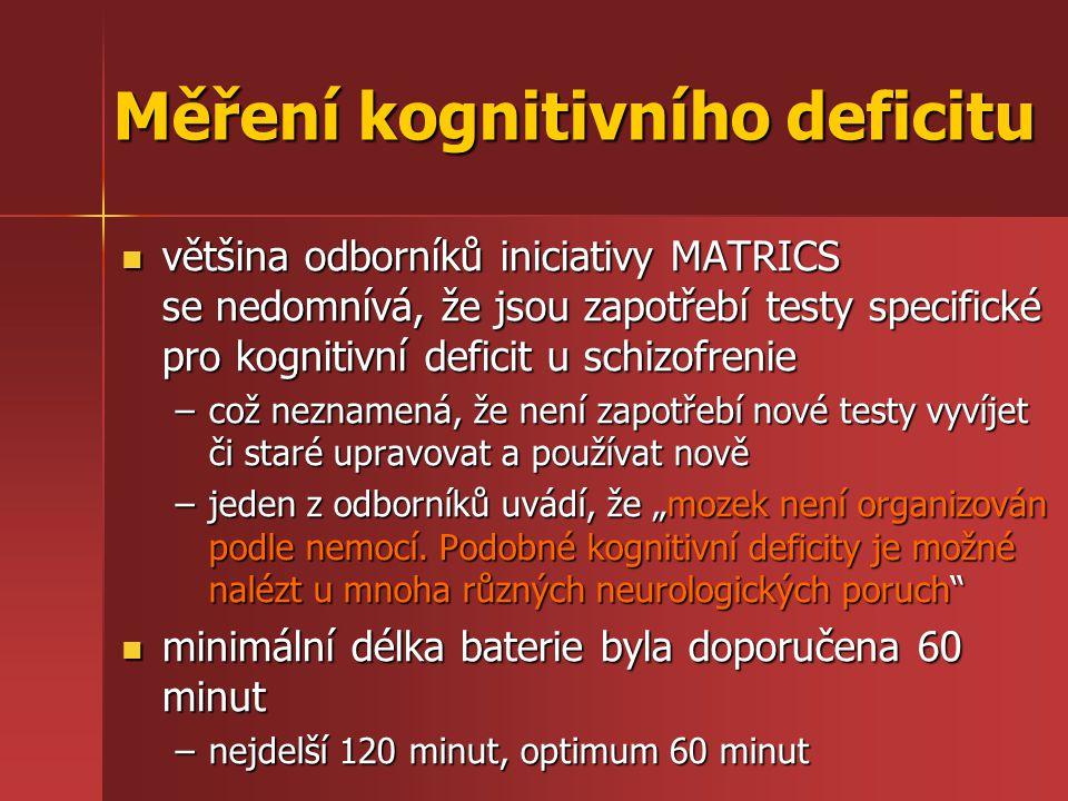"""většina odborníků iniciativy MATRICS se nedomnívá, že jsou zapotřebí testy specifické pro kognitivní deficit u schizofrenie většina odborníků iniciativy MATRICS se nedomnívá, že jsou zapotřebí testy specifické pro kognitivní deficit u schizofrenie –což neznamená, že není zapotřebí nové testy vyvíjet či staré upravovat a používat nově –jeden z odborníků uvádí, že """"mozek není organizován podle nemocí."""