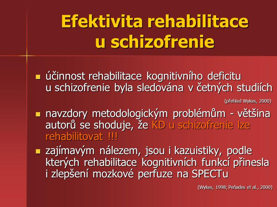 účinnost rehabilitace kognitivního deficitu u schizofrenie byla sledována v četných studiích (přehled Wykes, 2000) účinnost rehabilitace kognitivního deficitu u schizofrenie byla sledována v četných studiích (přehled Wykes, 2000) navzdory metodologickým problémům - většina autorů se shoduje, že KD u schizofrenie lze rehabilitovat !!.