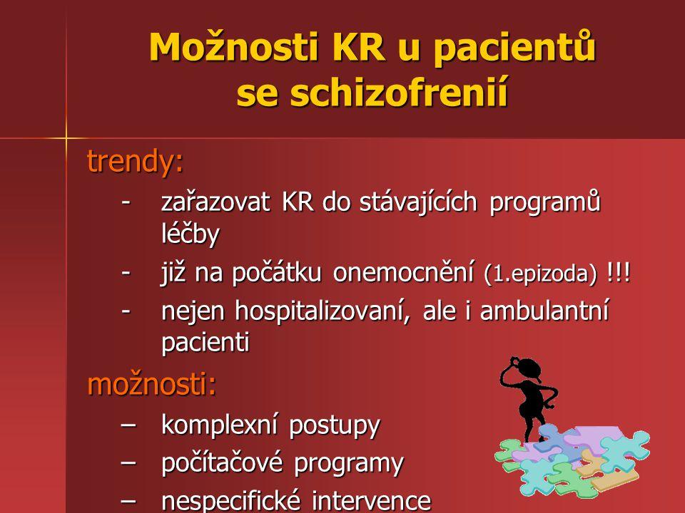 Možnosti KR u pacientů se schizofrenií trendy: -zařazovat KR do stávajících programů léčby -již na počátku onemocnění (1.epizoda) !!! -nejen hospitali