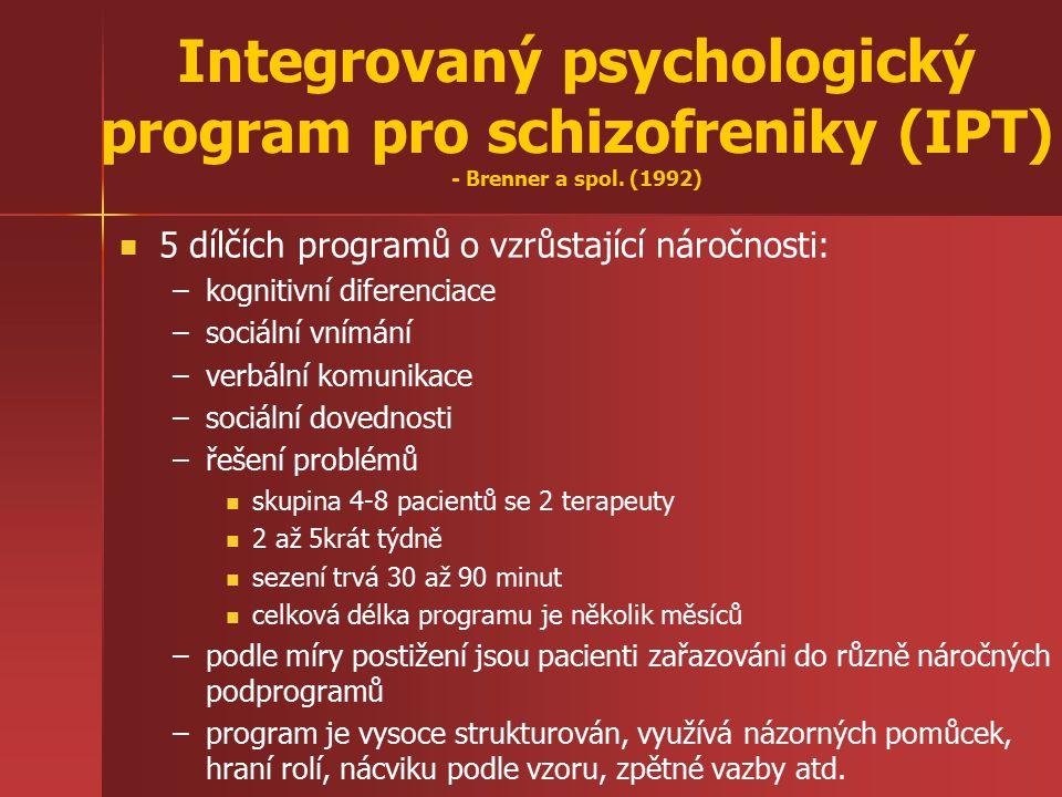 Integrovaný psychologický program pro schizofreniky (IPT) - Brenner a spol. (1992) 5 dílčích programů o vzrůstající náročnosti: – –kognitivní diferenc