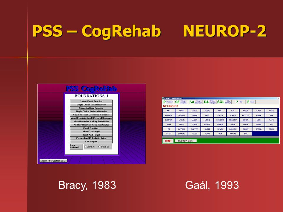 PSS – CogRehab NEUROP-2 Bracy, 1983 Gaál, 1993