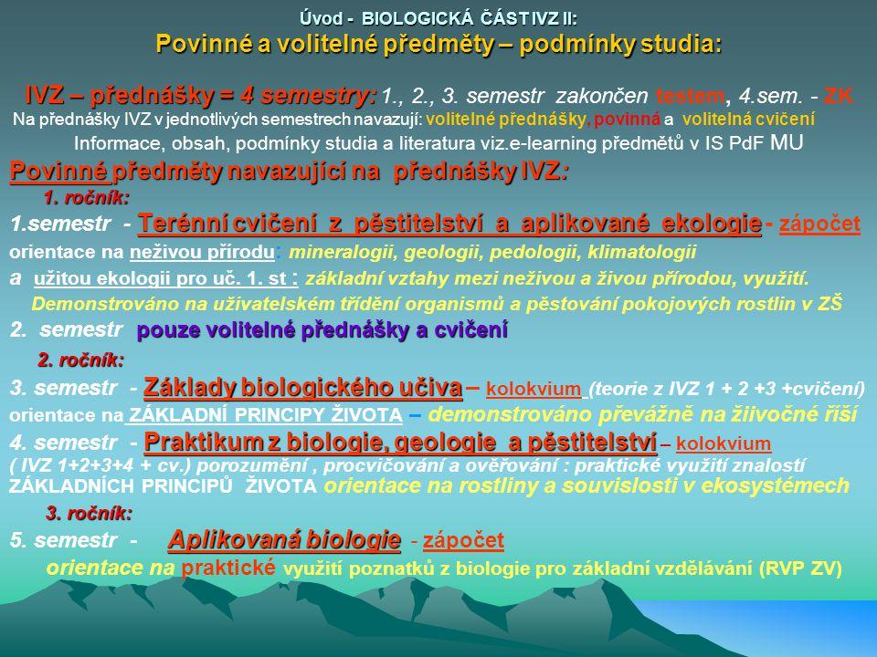 Úvod - BIOLOGICKÁ ČÁST IVZ II: Povinné a volitelné předměty – podmínky studia: IVZ – přednášky = 4 semestry: IVZ – přednášky = 4 semestry: 1., 2., 3.
