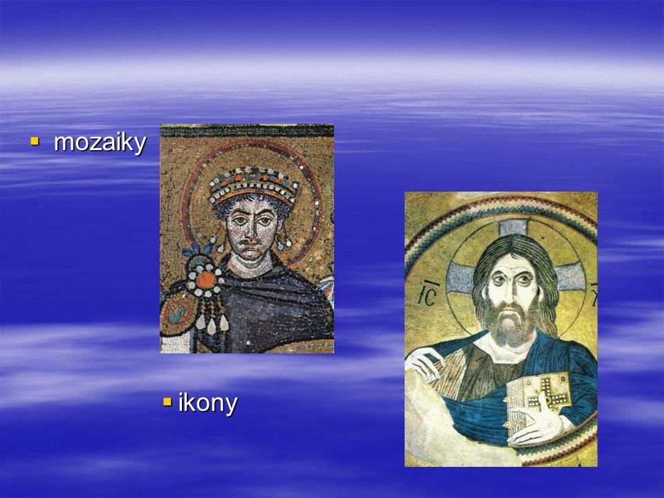 ikony jsou obrazy světců  jejich tvorba podléhala kánonu – souboru závazných pravidel, v jejichž rámci umělec tvořil  více než byzantské jsou u nás známé ikony z ruské oblasti, kde se jejich tvorba a užívání udržely u pravoslavné církve dodnes