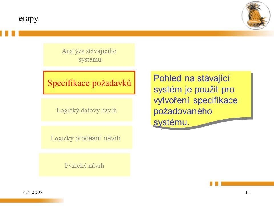 4.4.200811 etapy Analýza stávajícího systému Logický datový návrh Logický procesní návrh Fyzický návrh Pohled na stávající systém je použit pro vytvoření specifikace požadovaného systému.