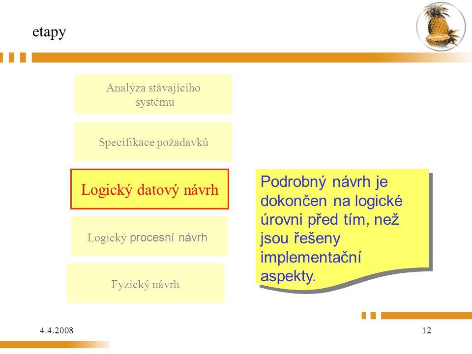 4.4.200812 etapy Analýza stávajícího systému Logický datový návrh Logický procesní návrh Fyzický návrh Podrobný návrh je dokončen na logické úrovni před tím, než jsou řešeny implementační aspekty.