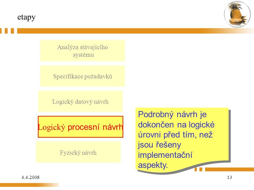 4.4.200813 etapy Analýza stávajícího systému Logický datový návrh Fyzický návrh Podrobný návrh je dokončen na logické úrovni před tím, než jsou řešeny implementační aspekty.