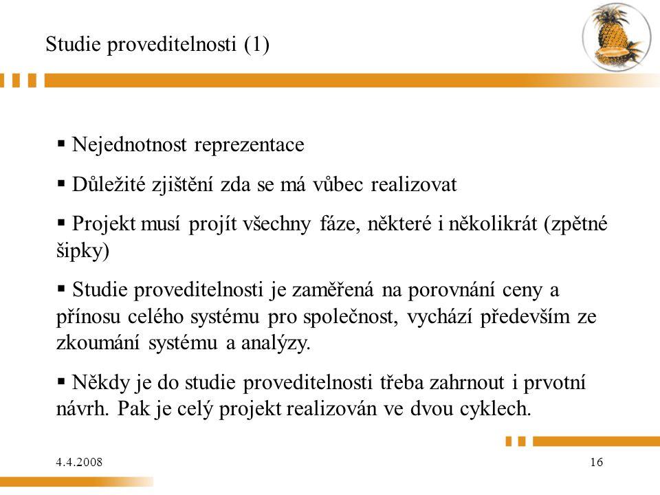 4.4.200816 Studie proveditelnosti (1)  Nejednotnost reprezentace  Důležité zjištění zda se má vůbec realizovat  Projekt musí projít všechny fáze, n