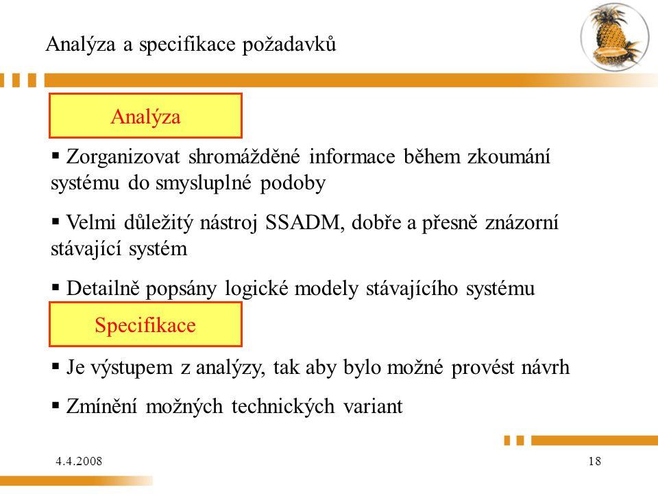 4.4.200818 Analýza a specifikace požadavků Analýza:  Zorganizovat shromážděné informace během zkoumání systému do smysluplné podoby  Velmi důležitý