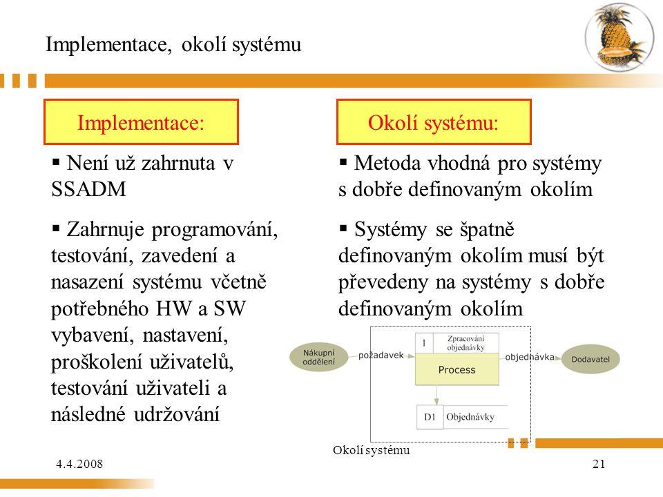 4.4.200821 Implementace, okolí systému Implementace:  Není už zahrnuta v SSADM  Zahrnuje programování, testování, zavedení a nasazení systému včetně potřebného HW a SW vybavení, nastavení, proškolení uživatelů, testování uživateli a následné udržování Okolí systému:  Metoda vhodná pro systémy s dobře definovaným okolím  Systémy se špatně definovaným okolím musí být převedeny na systémy s dobře definovaným okolím Okolí systému Implementace:Okolí systému: