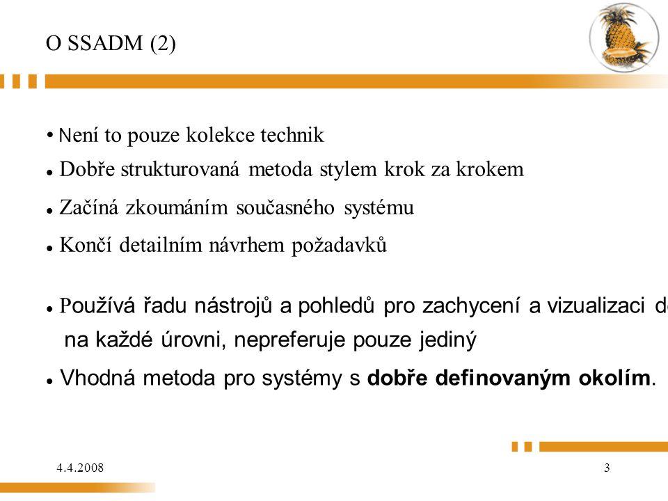4.4.20083 O SSADM (2) P oužívá řadu nástrojů a pohledů pro zachycení a vizualizaci detailů na každé úrovni, nepreferuje pouze jediný Vhodná metoda pro systémy s dobře definovaným okolím.
