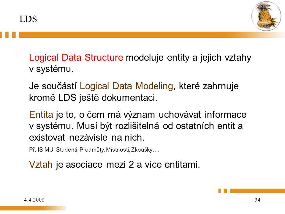 4.4.200834 LDS Logical Data Structure modeluje entity a jejich vztahy v systému. Je součástí Logical Data Modeling, které zahrnuje kromě LDS ještě dok