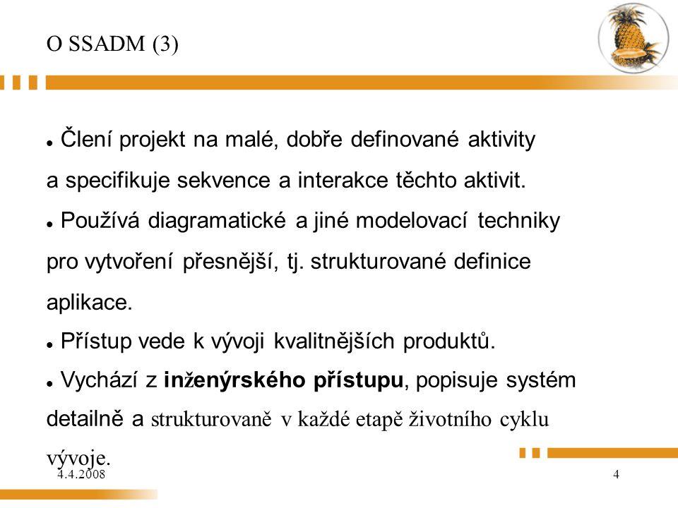 4.4.20084 O SSADM (3) Člení projekt na malé, dobře definované aktivity a specifikuje sekvence a interakce těchto aktivit. Používá diagramatické a jin