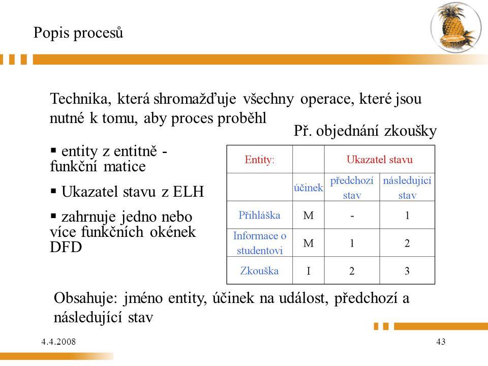 4.4.200843 Popis procesů Technika, která shromažďuje všechny operace, které jsou nutné k tomu, aby proces proběhl  entity z entitně - funkční matice  Ukazatel stavu z ELH  zahrnuje jedno nebo více funkčních okének DFD Obsahuje: jméno entity, účinek na událost, předchozí a následující stav Př.