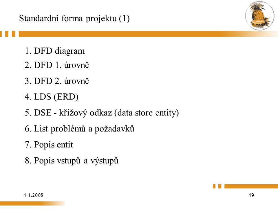 4.4.200849 Standardní forma projektu (1) 1. DFD diagram 2. DFD 1. úrovně 3. DFD 2. úrovně 4. LDS (ERD) 5. DSE - křížový odkaz (data store entity) 6