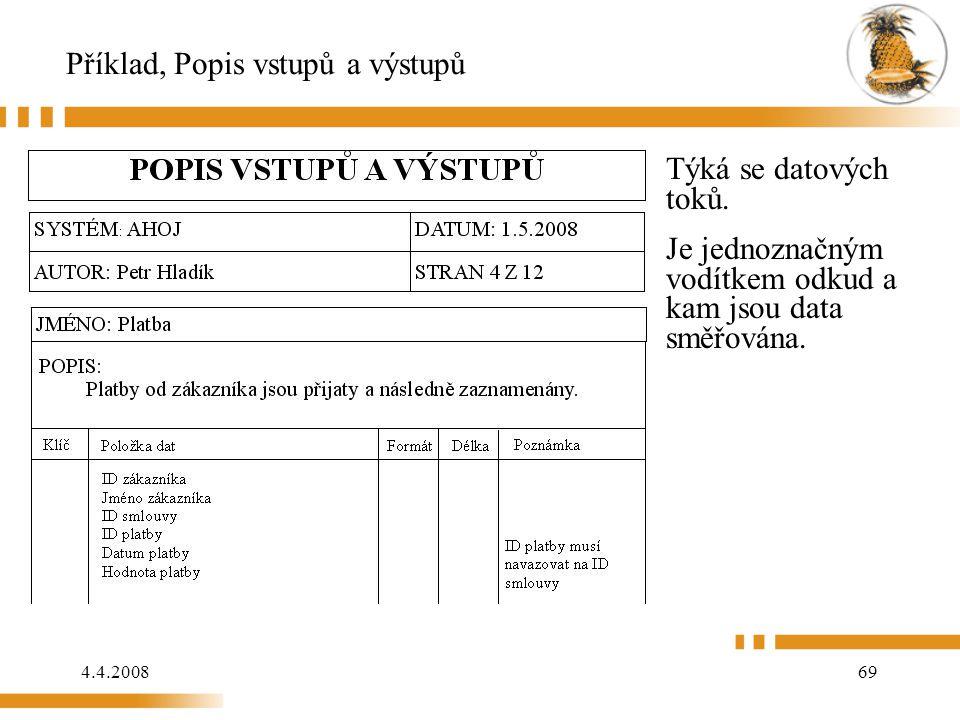 4.4.200869 Příklad, Popis vstupů a výstupů Týká se datových toků.