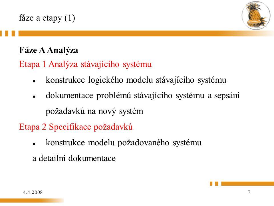 4.4.20088 fáze a etapy (2) Fáze B Logický návrh Etapa 3 Logický datový návrh Kompletní a detailní logický datový návrh Etapa 4 Logický procesní návrh Kompletní sada detailního logického procesního návrhu Fáze C Fyzický návrh Etapa 5 Fyzický návrh Překládá logický datový návrh do souboru či databáze specifikací a logický procesní návrh do programové specifikace