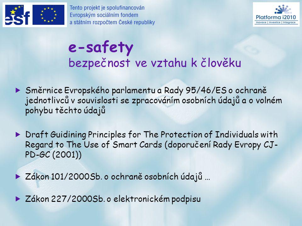 Teze  informační a komunikační technologie (ICT) –> převod z fyzického do digitálního světa  technické versus netechnické předpoklady smysluplného užití ICT –> od akčního plánu eEurope k platformě i2010  pre rekvizity: e-safety a e-security  Rada: nejlépe jedinečná identita pro každé jedno použití