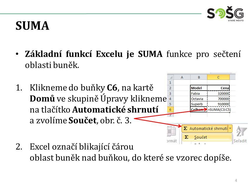 SUMA Základní funkcí Excelu je SUMA funkce pro sečtení oblasti buněk.
