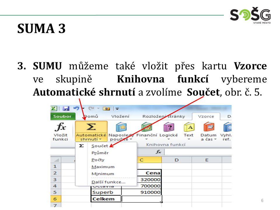 SUMA 3 3.SUMU můžeme také vložit přes kartu Vzorce ve skupině Knihovna funkcí vybereme Automatické shrnutí a zvolíme Součet, obr.
