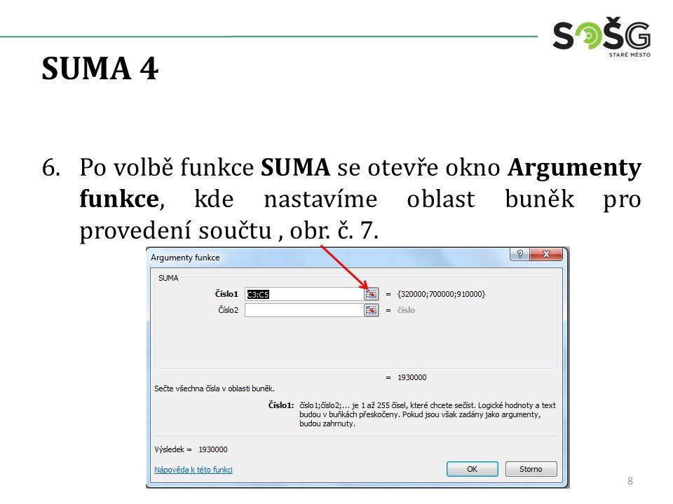SUMA 4 6.Po volbě funkce SUMA se otevře okno Argumenty funkce, kde nastavíme oblast buněk pro provedení součtu, obr.