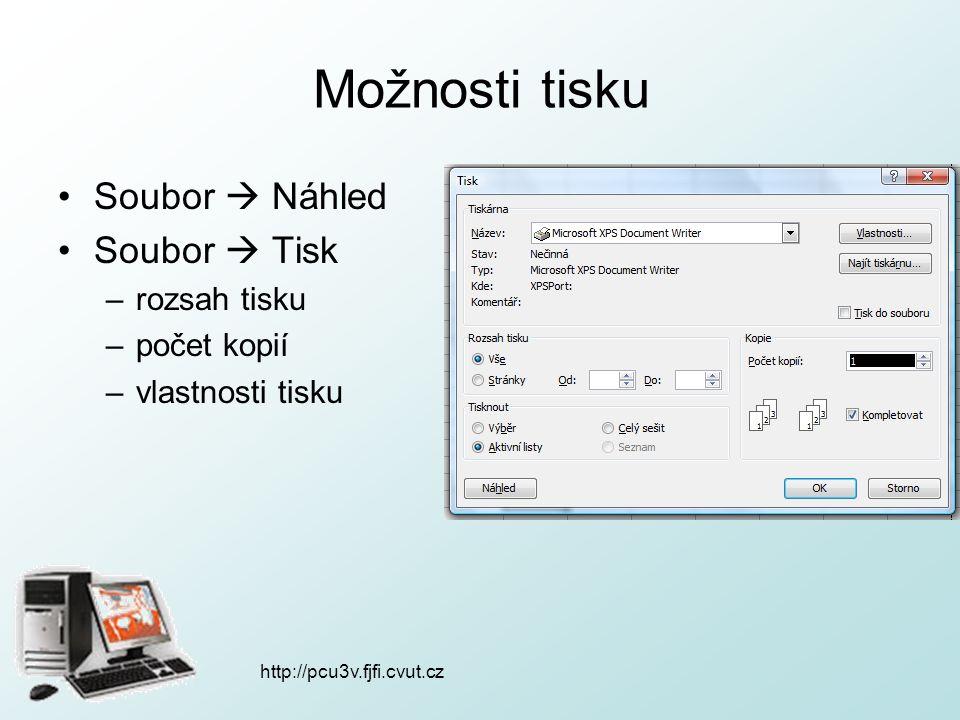 http://pcu3v.fjfi.cvut.cz Možnosti tisku Soubor  Náhled Soubor  Tisk –rozsah tisku –počet kopií –vlastnosti tisku