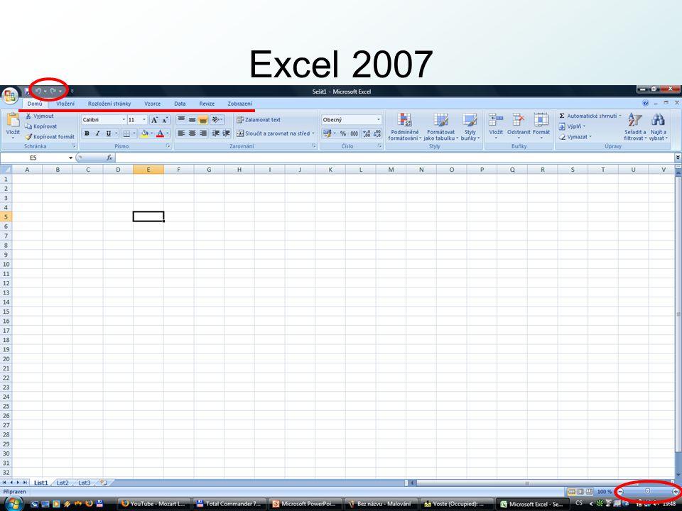 http://pcu3v.fjfi.cvut.cz OpenOffice volná distribuce = zdarma www.openoffice.org MS Excel ↔ OF Calc o trochu jiný vzhled prostředí i tlačítek