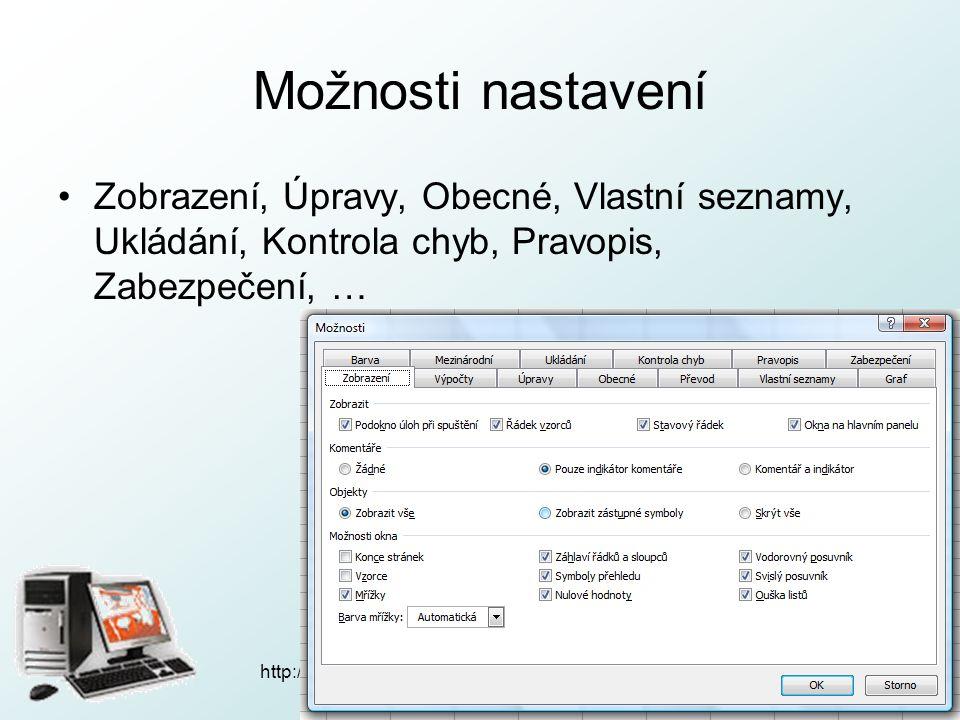 http://pcu3v.fjfi.cvut.cz Možnosti tisku Soubor  Vzhled stránky… –Stránka –Okraje
