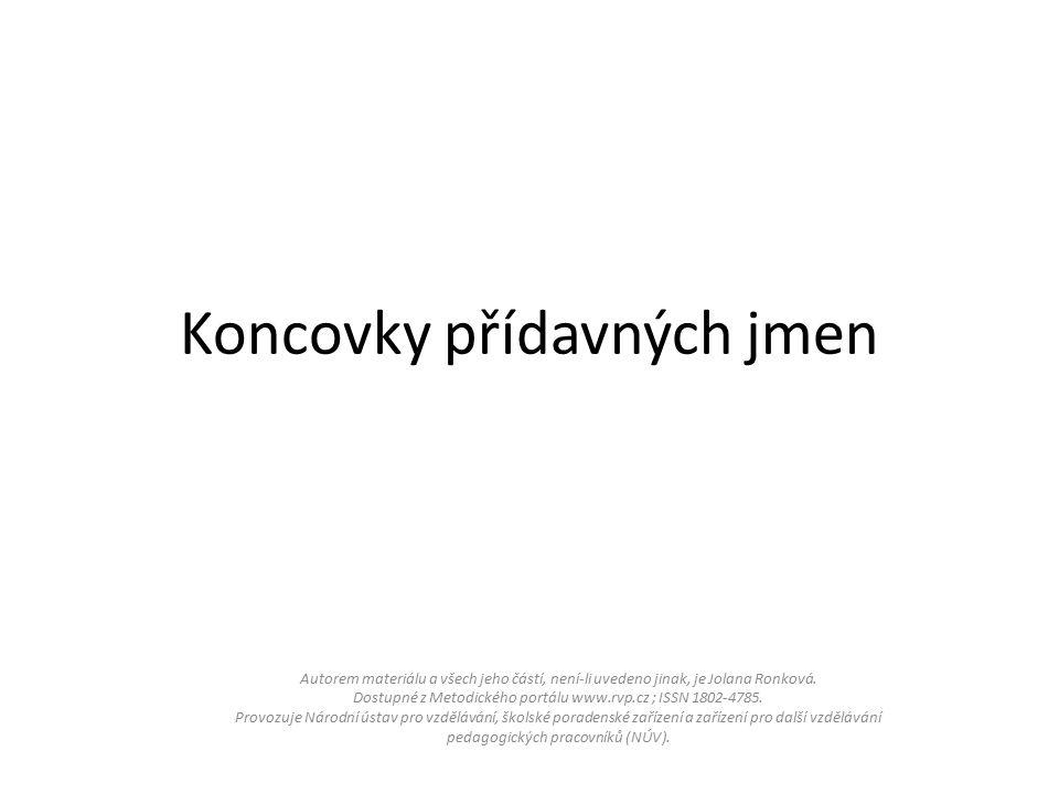 Koncovky přídavných jmen Autorem materiálu a všech jeho částí, není-li uvedeno jinak, je Jolana Ronková.