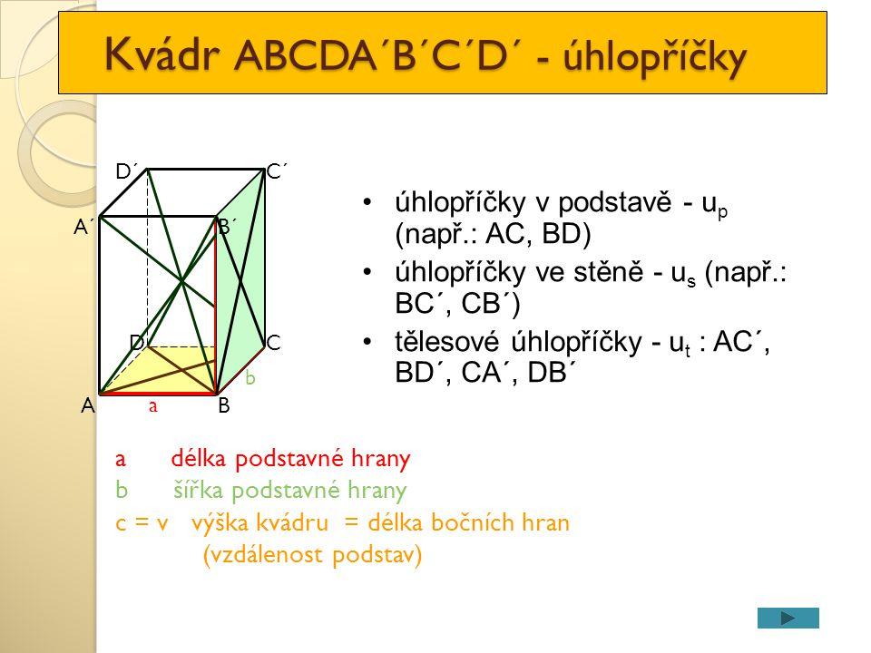 Kvádr ABCDA´B´C´D´ - úhlopříčky Kvádr ABCDA´B´C´D´ - úhlopříčky A DC a B D´C´ A´ b c=v a délka podstavné hrany b šířka podstavné hrany c = v výška kvá