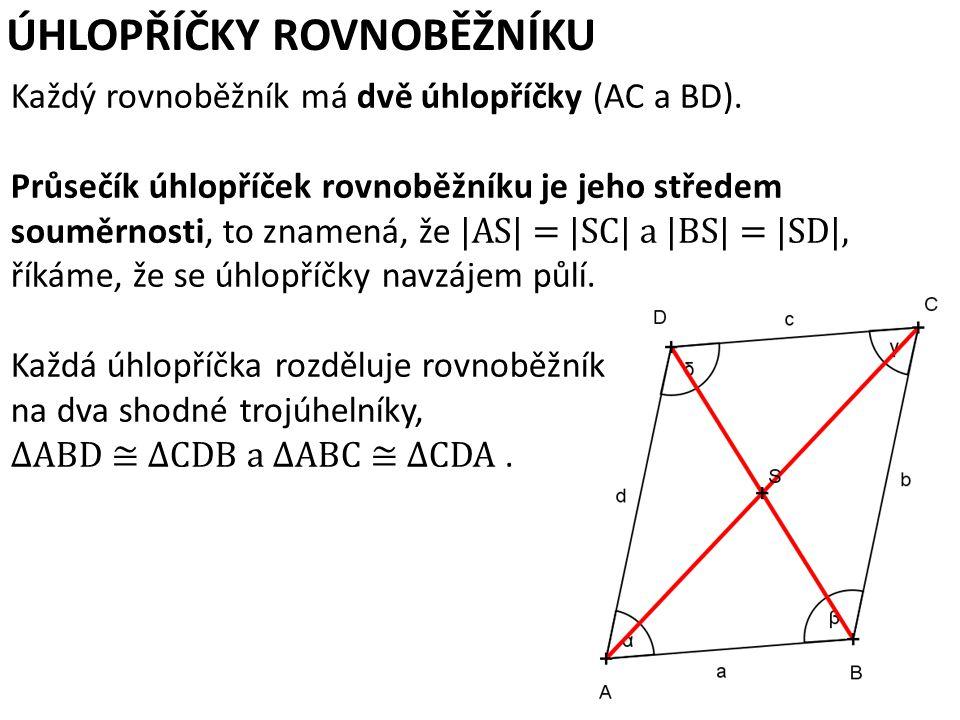ÚHLOPŘÍČKY ROVNOBĚŽNÍKU Každý rovnoběžník má dvě úhlopříčky (AC a BD).