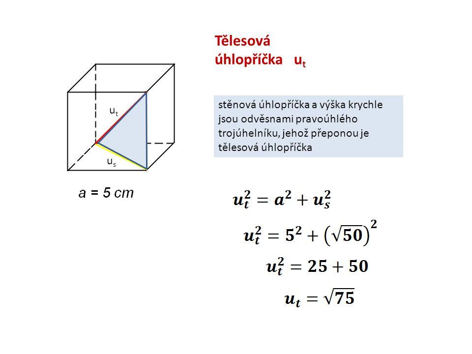 Tělesová úhlopříčka u t usus utut stěnová úhlopříčka a výška krychle jsou odvěsnami pravoúhlého trojúhelníku, jehož přeponou je tělesová úhlopříčka