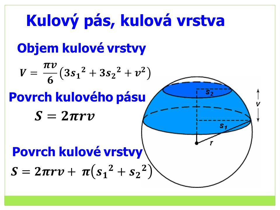 Kulový pás, kulová vrstva Objem kulové vrstvy Povrch kulové vrstvy Povrch kulového pásu