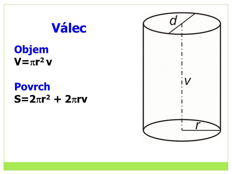 Válec Objem V=  r 2 v Povrch S=2  r 2 + 2  rv