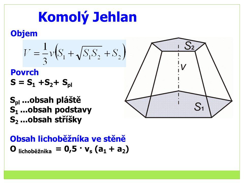 Komolý Jehlan S pl...obsah pláště S 1...obsah podstavy S 2...obsah stříšky Obsah lichoběžníka ve stěně O lichoběžnika = 0,5 · v s (a 1 + a 2 ) Objem Povrch S = S 1 +S 2 + S pl