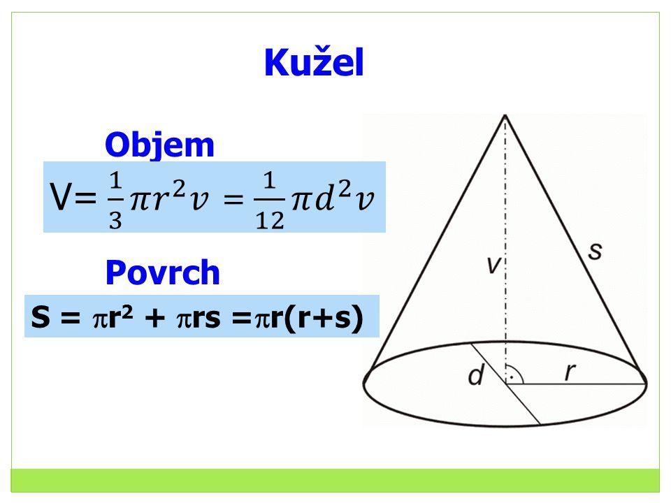 Kužel Objem Povrch S =  r 2 +  rs =  r(r+s)
