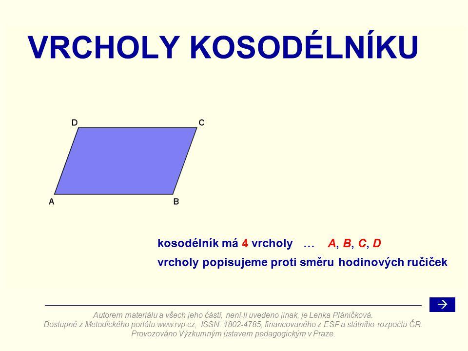 STRANY KOSODÉLNÍKU    AB  =  CD  = a  BC  =  DA  = b kosodélník má rovnoběžné strany stejně dlouhé strany kosodélníku nejsou na sebe kolmé Autorem materiálu a všech jeho částí, není-li uvedeno jinak, je Lenka Pláničková.