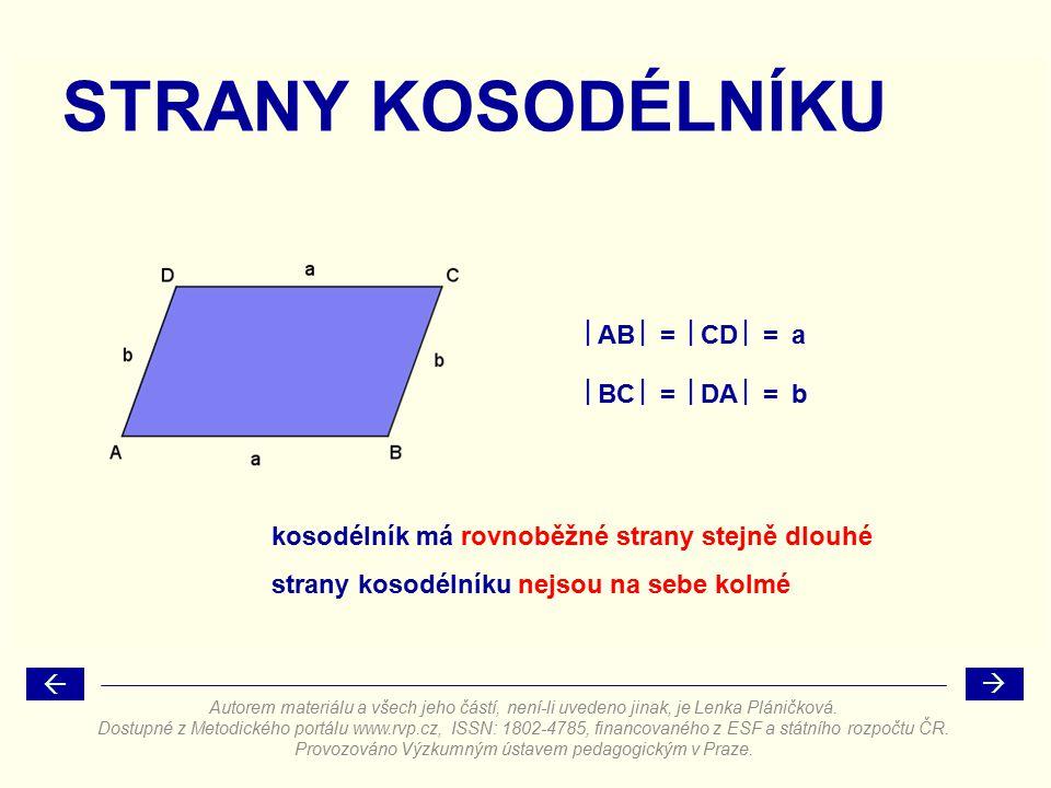 ÚHLY U VRCHOLŮ KOSODÉLNÍKU kosodélník má u protilehlých vrcholů velikost úhlu     90° součet vnitřních úhlů kosodélníku je 360° stejné úhly jeden z úhlů je ostrý a druhý tupý  +  = 180° Autorem materiálu a všech jeho částí, není-li uvedeno jinak, je Lenka Pláničková.