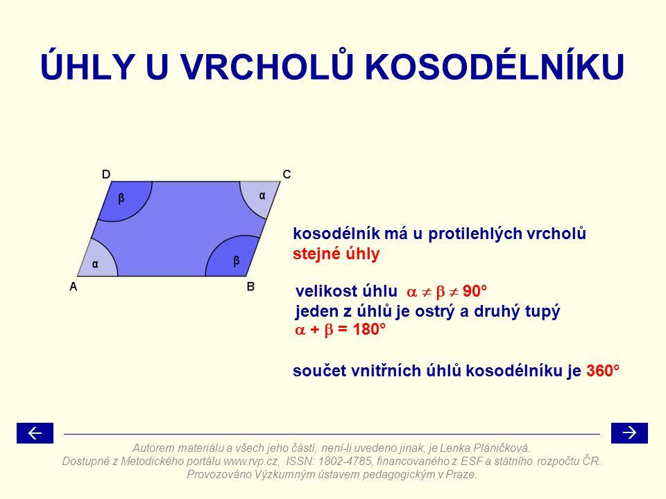 ÚHLY U VRCHOLŮ KOSODÉLNÍKU kosodélník má u protilehlých vrcholů velikost úhlu     90° součet vnitřních úhlů kosodélníku je 360° stejné úhly jeden