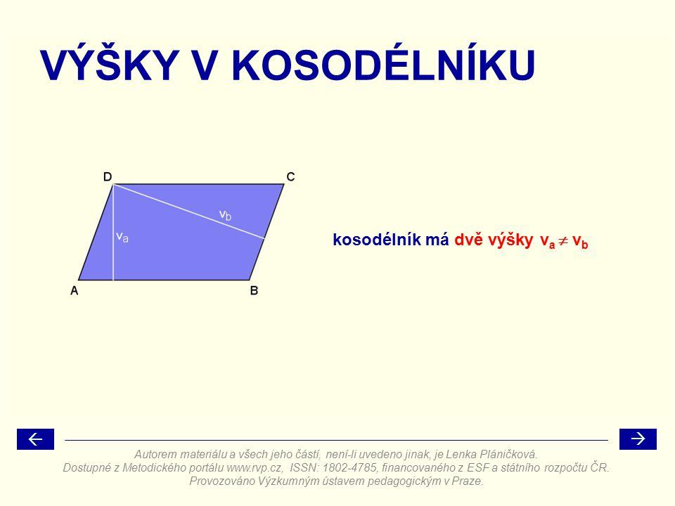 VÝŠKY V KOSODÉLNÍKU kosodélník má dvě výšky v a  v b Autorem materiálu a všech jeho částí, není-li uvedeno jinak, je Lenka Pláničková. Dostupné z Met