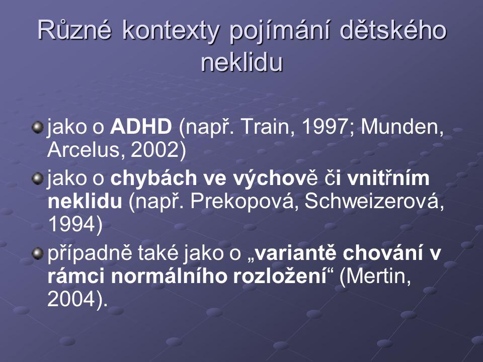 Různé kontexty pojímání dětského neklidu jako o ADHD (např.