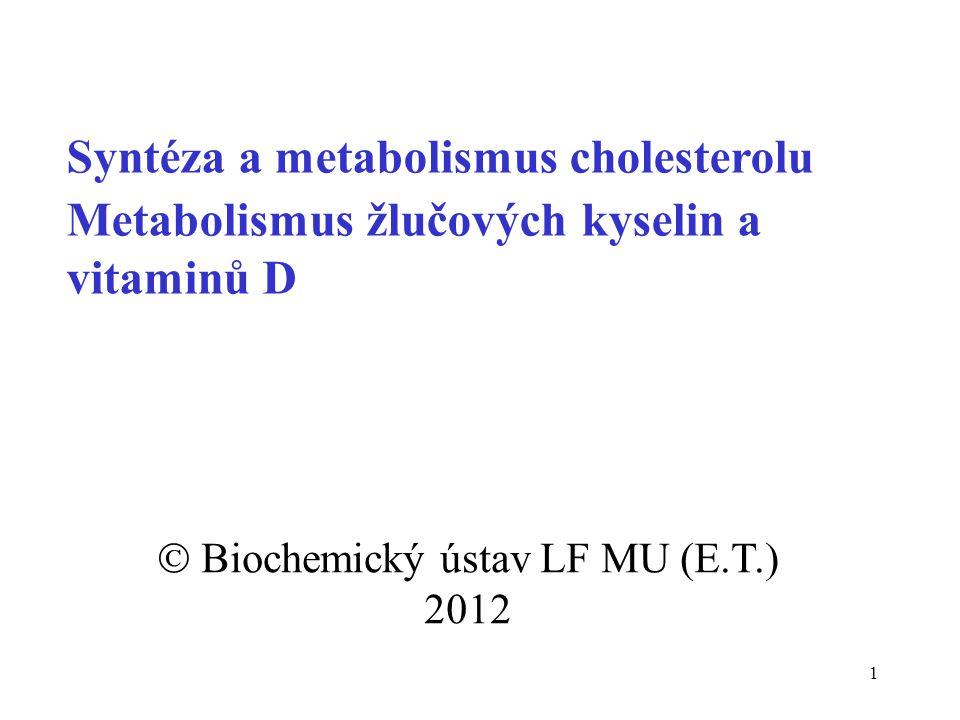 1 Syntéza a metabolismus cholesterolu Metabolismus žlučových kyselin a vitaminů D  Biochemický ústav LF MU (E.T.) 2012
