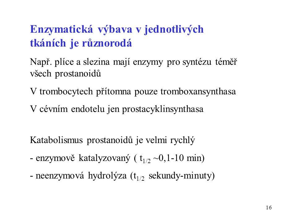 16 Enzymatická výbava v jednotlivých tkáních je různorodá Např. plíce a slezina mají enzymy pro syntézu téměř všech prostanoidů V trombocytech přítomn