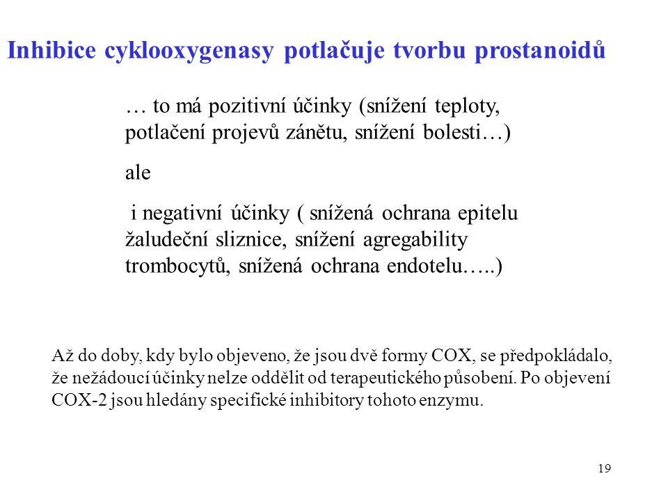19 Inhibice cyklooxygenasy potlačuje tvorbu prostanoidů … to má pozitivní účinky (snížení teploty, potlačení projevů zánětu, snížení bolesti…) ale i n