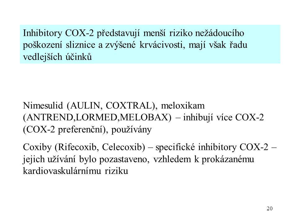 20 Inhibitory COX-2 představují menší riziko nežádoucího poškození sliznice a zvýšené krvácivosti, mají však řadu vedlejších účinků Nimesulid (AULIN,