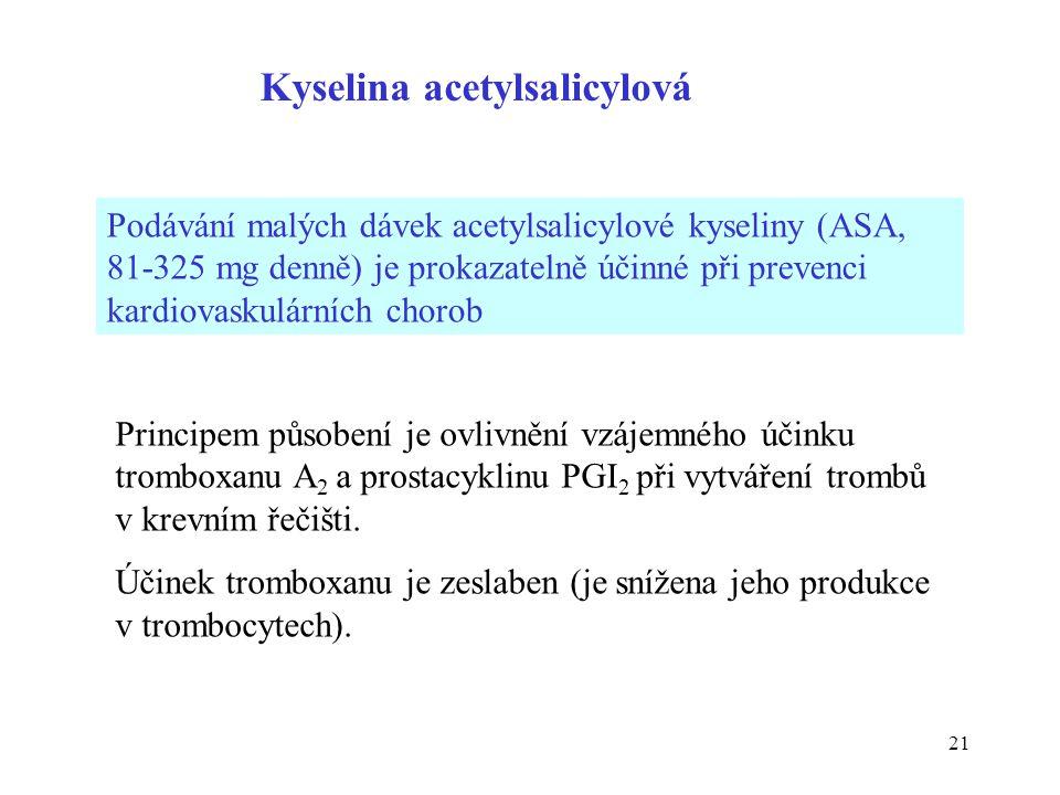21 Podávání malých dávek acetylsalicylové kyseliny (ASA, 81-325 mg denně) je prokazatelně účinné při prevenci kardiovaskulárních chorob Principem půso