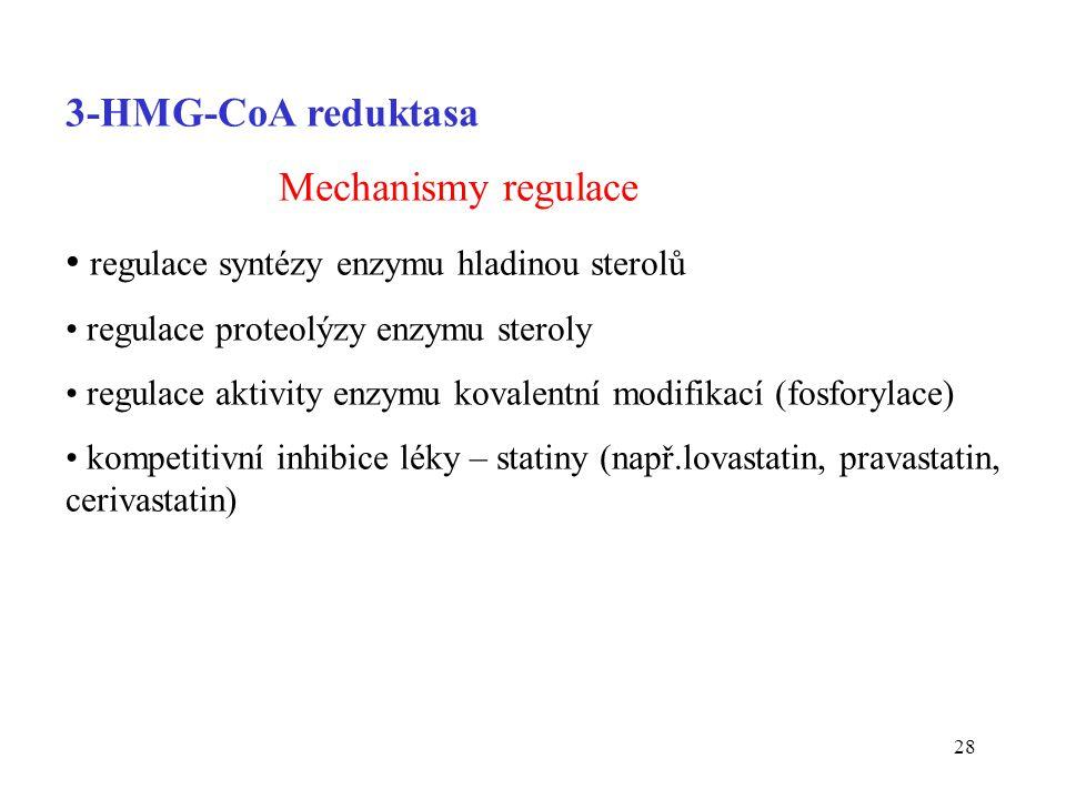 28 3-HMG-CoA reduktasa Mechanismy regulace regulace syntézy enzymu hladinou sterolů regulace proteolýzy enzymu steroly regulace aktivity enzymu kovale