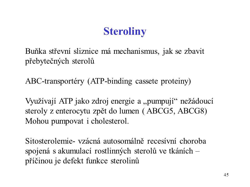 45 Steroliny Buňka střevní sliznice má mechanismus, jak se zbavit přebytečných sterolů ABC-transportéry (ATP-binding cassete proteiny) Využívají ATP j